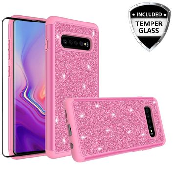 Samsung Galaxy S10 Plus Case, Galaxy S10+ Glitter Bling Heavy Duty Shock Proof Hybrid Case with [HD Screen Protector] Dual Layer Protective Phone Case Cover for Samsung Galaxy S10 Plus W/Temper Glass - Hot Pink