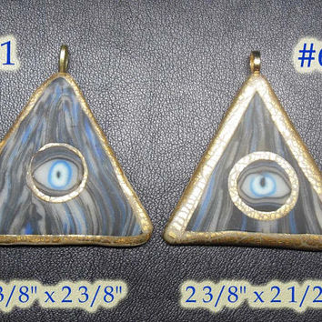 psychedelic Glow in the Dark Pyramid Necklace gold black and blue EyeGloArts Halloween Jewelry No685, 701