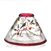 Winter Bird Crackle Glass Jar Shade Yankee Candle Company