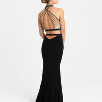 Madison James 16-420 In Stock Size 0 Black Beaded Two Piece Jersey Prom Dress
