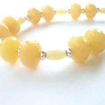 Yellow Jade Beaded Bracelet