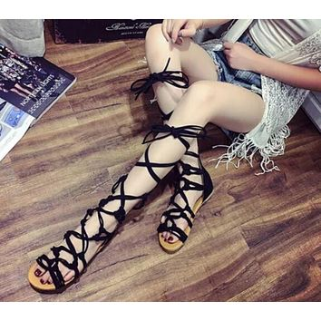 2017 New Fashion Gladiator Hollow Cross Tied Chaussure Femme Shoes Women Knee High Cro