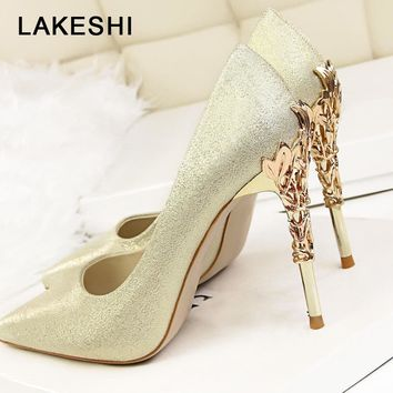LAKESHI Sexy High Heels Shoes Woman Fashion Women Pumps Wedding Shoes Red Bling Gold Shoes Famale Party Women Heel Shoes