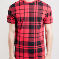 OVERSIZED FIT RED TARTAN T-SHIRT