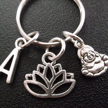Spiritual, healing, lotus flower and Buddha keyring, keychain, bag charm, purse charm, monogram personalized item No.310
