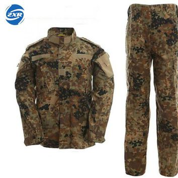 German Army Jungle Camouflage Clothes Suit Military Combat Uniform Tactical Men's Jackets And Pants Men German Woodland Clothing