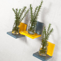 Simple Shelf - Wall Storage - Bookshelves - Floating Shelf - Set of 3 - Two Tone Paint, Fun Color, Yellow and Gray