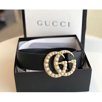 GUCCI Boys Girls Double G Pearl Smooth Buckle Leather Belt I/A