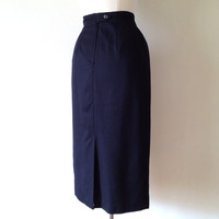 long black skirt / high waisted pencil skirt / long black pencil skirt / 90s clothing / small