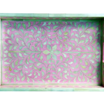 Floral  Bone Inlay Serving Tray in Pink