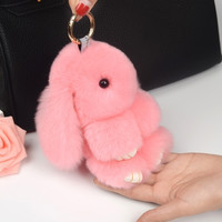 New Rex Rabbit Fur Keychain Cute Mini Fluffy Rabbit Doll Real Fur Pom Pom Key Chains Pompon Keyring For Women Bag Charm Pendant Gift