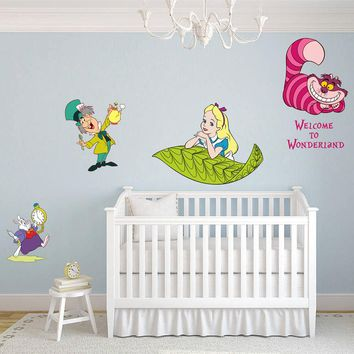 cik1542 Full Color Wall decal set Alice in Wonderland characters heroes bedroom children's room