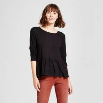 Women's Long Sleeve Knit Peplum Top - Mossimo Supply Co.™