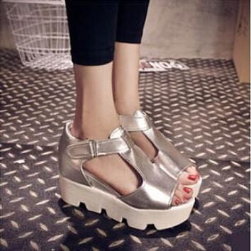 platform sandals chunky high heel belt buckle casual shoes Open Toe Platform Trifle Shoes