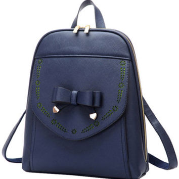 Navy Blue Bowknot PU Leather Backpack