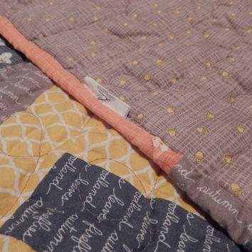 Lap Quilt Fall themed Autumn throw Handmade Photo Prop colored strip quilt blanket tummy time quilt baby gift