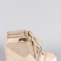 Women's Liliana Zipper Perforated High Top Lace Up Wedge Sneaker