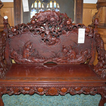 Hand Carved Monkey Throne Bench OVER 100 Years Old, Unique Old Antique Bench, Ancient