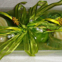 Lime Green Cream Soap Gift Set - Handmade Soap - Luxury Soap -  Scented Soap - Floral Soap - Gift for Her, Graduation Gift, Birthday Gift