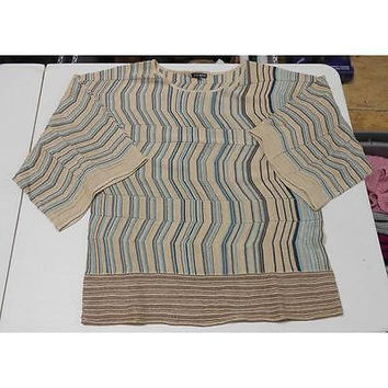 Women's 3/4 Kimono Sleeve Stripe Sweater, Tan/Blue, Large 600 West