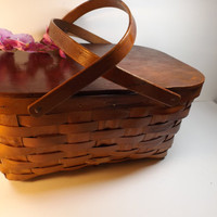 "Wicker basket with handles,Wicker Picnic Basket, 18""L, 9""H ,12""W.Needlepoint storage. Great vintage decor to any home. working bascket,box"
