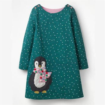 Applique a cute penguin Jumping meters cartoon dresses for baby girls kids new designed spring autumn clothes hot selling dress