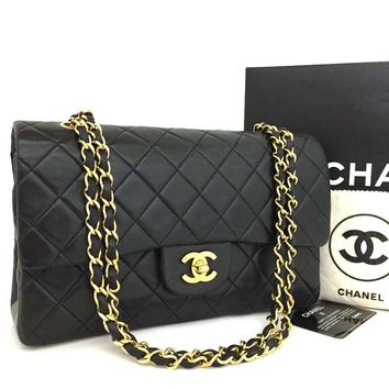 CHANEL Double Flap 25 Quilted CC Logo Lambskin w/Chain Shoulder Bag Black/q601