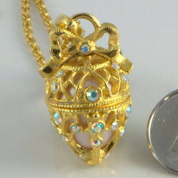 Joan Rivers Russian Gilded Egg Pendant Necklace Hinged Pill Box or Secret Compartment Locket