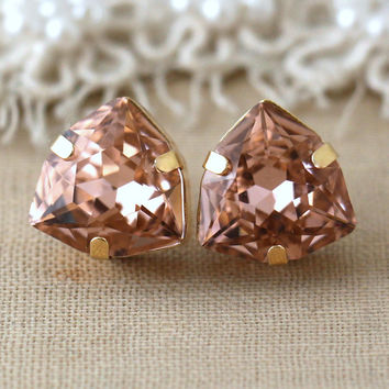 Blush pink Studs, Peach Swarovski Crystal earrings, Bridal classic earrings, Bridesmaids earrings, Gift for woman, Prom jewelry, Blush studs