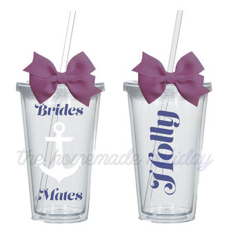 Bachelorette Party acrylic cups! Personalized for each girl! bachelorette cups, nautical bachelorette party, brides mates