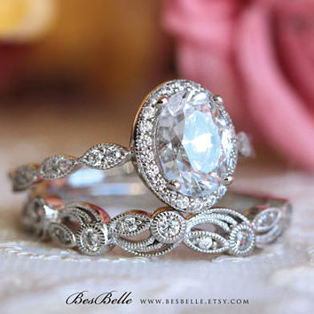 2.20 ct.tw Art Deco Bridal Set Ring-Oval Halo Engagement Ring w/ Leaf & Vine Vintage Wedding Ring-Sterling Silver [65359-2A]
