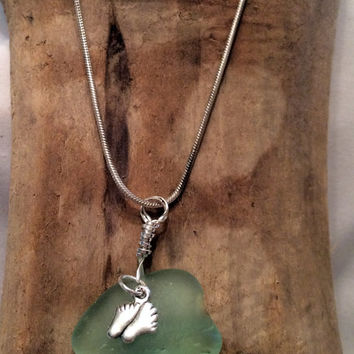 Sea Foam Sea Glass Bare Feet Charm Necklace Beach Glass Pendant Eco Friendly Upcycled Nautical Wear Lake Erie