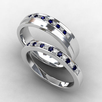blue sapphire ring set, white sapphire, white gold, sapphire wedding band, wedding ring, ring set, mens wedding ring