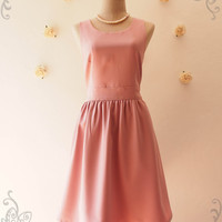 Dusky Pink Bridesmaid Dress Back Bow Tea Dress Summer Dress Dusky Pink Dress Party Dress Wedding Bridal Shower Dress -XS-XL, Custom