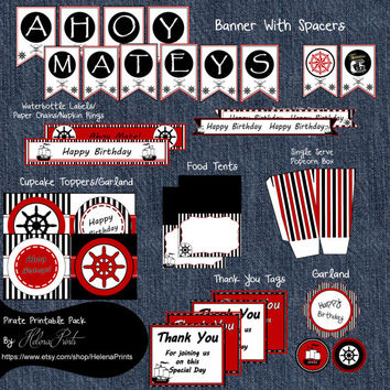 Instant Download Pirate Party Package-Pirate Party-Pirate Party Package-Party Printables-DIY Printable Pirate Party Package