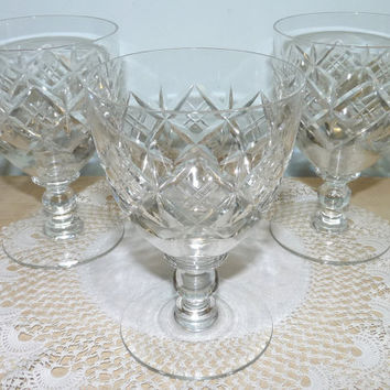 Web Corbett or Stuart Crystal Glengarry Cut Glass Goblets,  Cordial, Wine, Water or Sherbet Glasses x 3, Glassware, Homeware, Barware