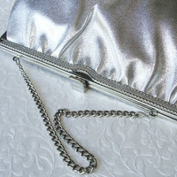 Fabulous 1960's Ande' Silver Clutch Faux Leather Metallic Purse Cocktail Handbag Formal Evening Bag Wedding Bridal Prom Special Occasion