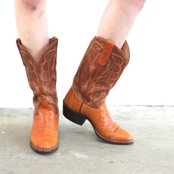 Vintage ELEPHANT SKIN Two Tone Cognac Embroidered Cowboy Boots // Western Boho Biker // Women's US 8.5