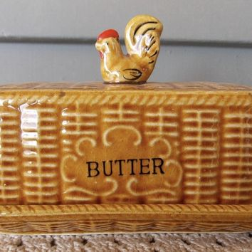 Vintage Golden Amber Majolica Advertising ' BUTTER ' Dish Basket Weave w/ Rooster on Lid