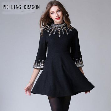 PEILING DRAGON 2018 autumn winter fashion elegant beading stand collar flare sleeve high waist woolen A big swing dress T1232