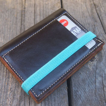Dark Chocolate and Dark Brown, small wallet, leather purse, made of up cycled leather, wallet with Turquoise elastic band