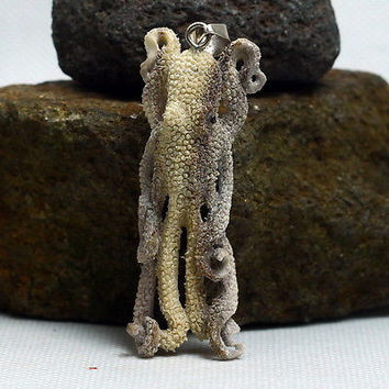 "Hand Carved Octopus2.7"" Natural Moose Antler  Pendant Sterling silver 925 AP1549"