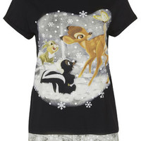 Bambi Pyjama Tee and Shorts Set - Black