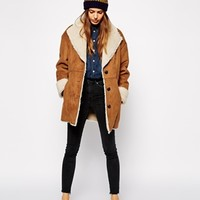 ASOS Faux Fur Coat In Vintage Shearling at asos.com