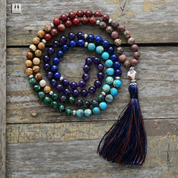 7 Chakra Mala Unique 8MM Natural Stone Jasper Long Tassel Necklace Women Meditation Necklace Knotted Bead Yoga Necklace Jewelry