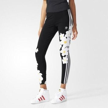 DCCKH3F Fashion Adidas Flowers Print Tight stretch Exercise Fitness Gym Yoga Running Leggings Sweatpants