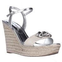 Ivanka Trump Hasco Embellished Wedge Sandals - Silver Multi