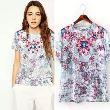 Floral Diamond Print Short-Sleeve Shirt
