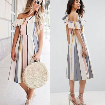 Summer dress sexy vertical stripes single leaf dress [10389932109]