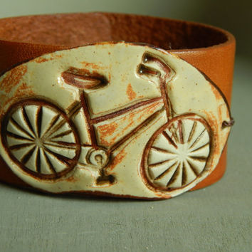 Leather bicycle ceramic cuff bracelet, boho leather cuff, ceramic bracelet, bohemian style, stacking bracelet, boho style, artisan